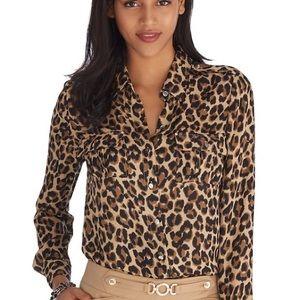 White House Black Market Silk Long Sleeve Cheetah